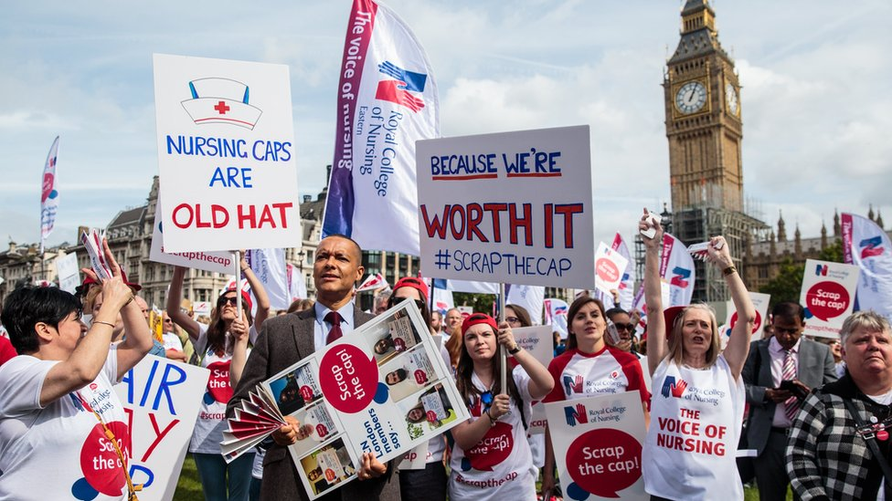 Nurses protesting about the pay cap