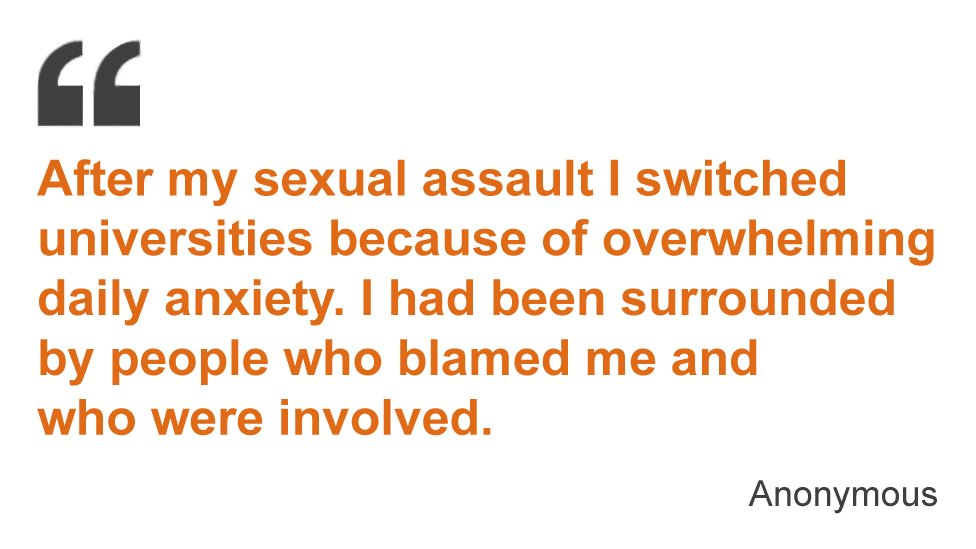 After my sexual assault I switched universities because of overwhelming daily anxiety. I had been surrounded by people who blamed me and who were involved.