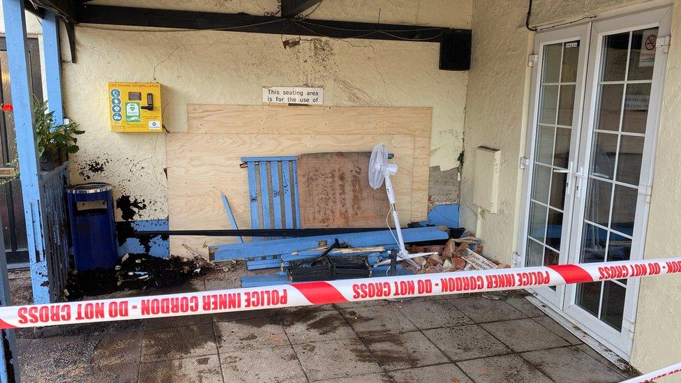 Damaged pub