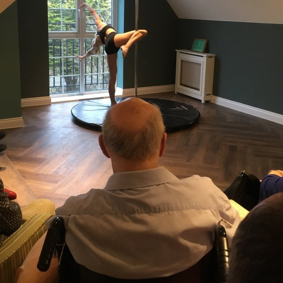 Pole dancer at care home