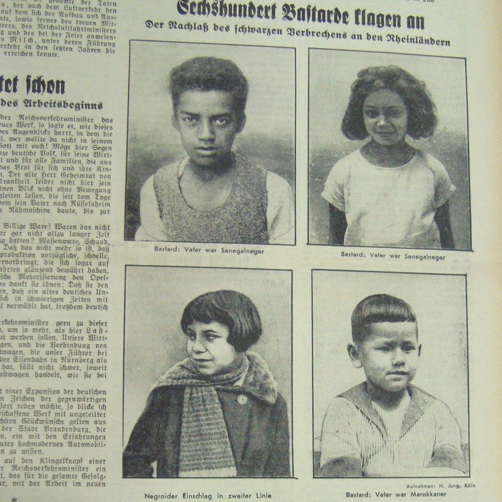 1936年《法蘭克福人民報》剪報。標題說:600個雜種作證,黑人針對萊茵蘭人犯罪的結果