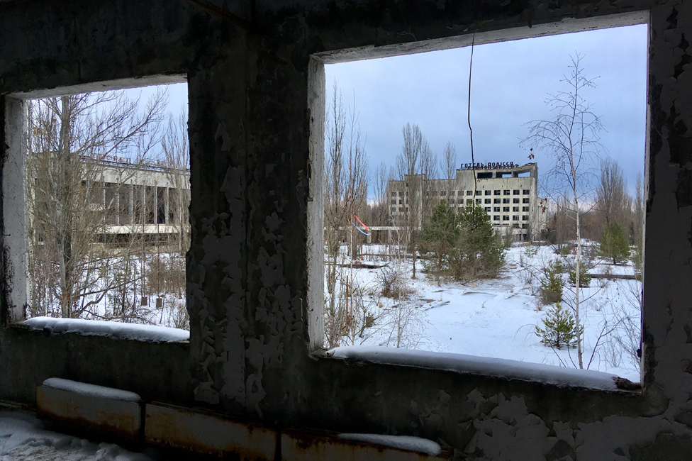 Windows in a ruined building