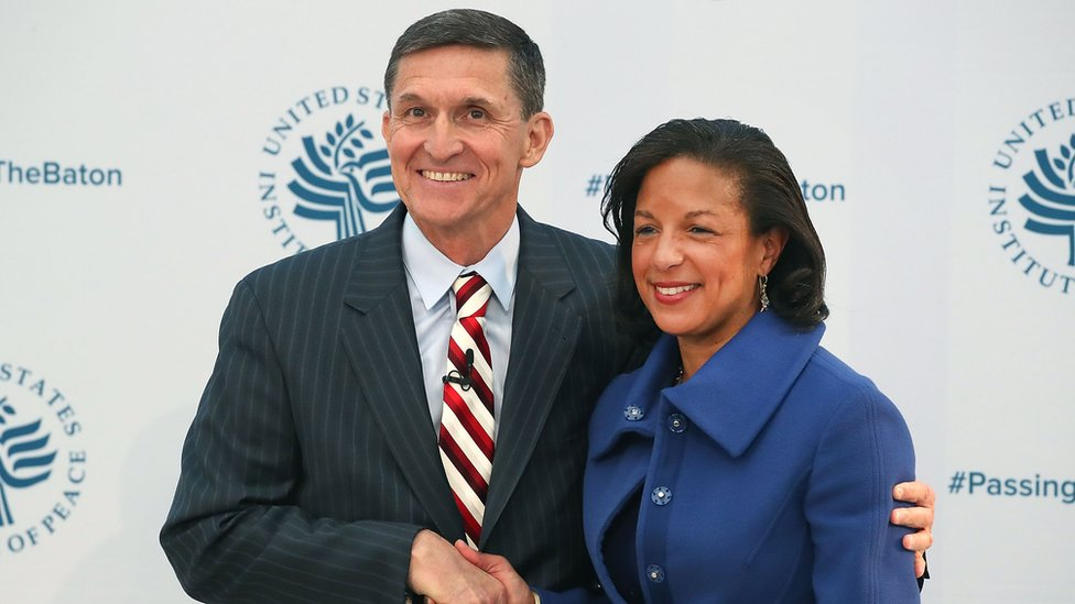 Susan Rice shakes hands with her then-incoming replacement, Michael Flynn, in January