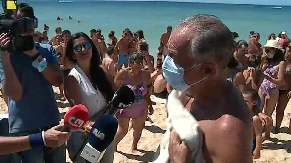 El presidente Marcelo Rebelo de Sousa tras el rescate