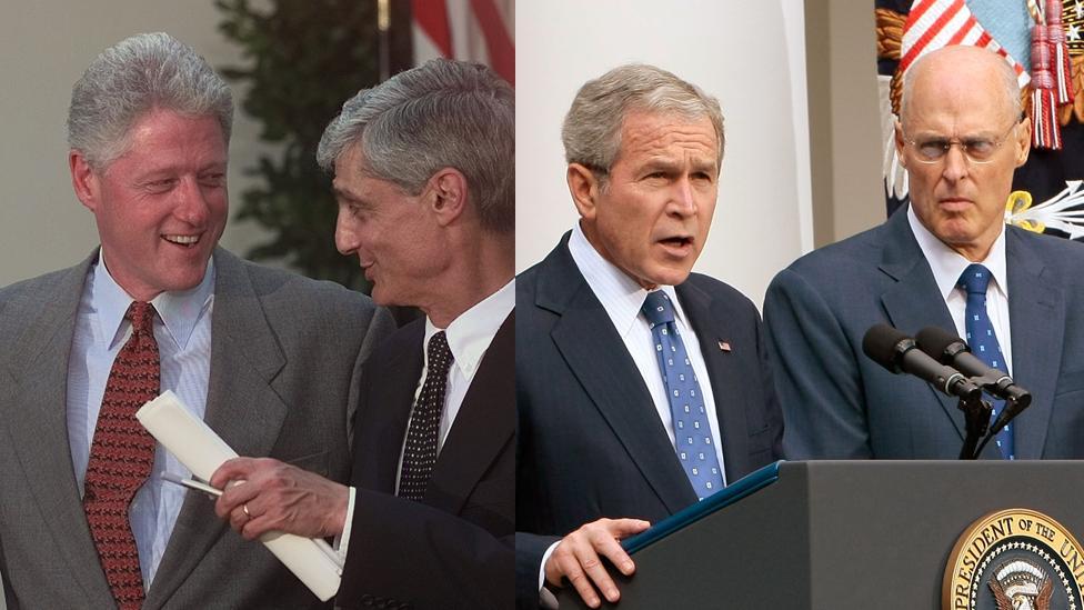 Bill Clinton and Robert Rubin, George W Bush and Henry Paulson