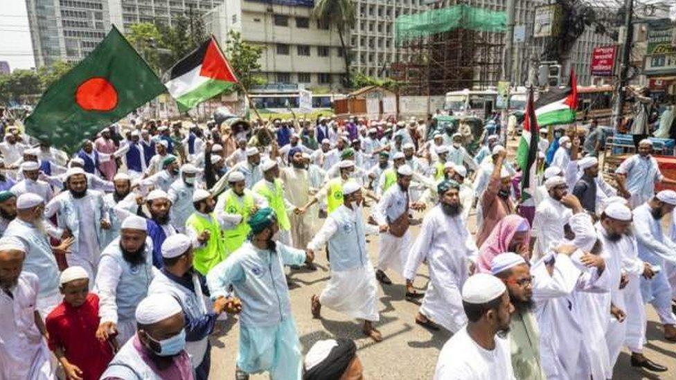 Protes pro-Palestina di Dhaka, Bangladesh.