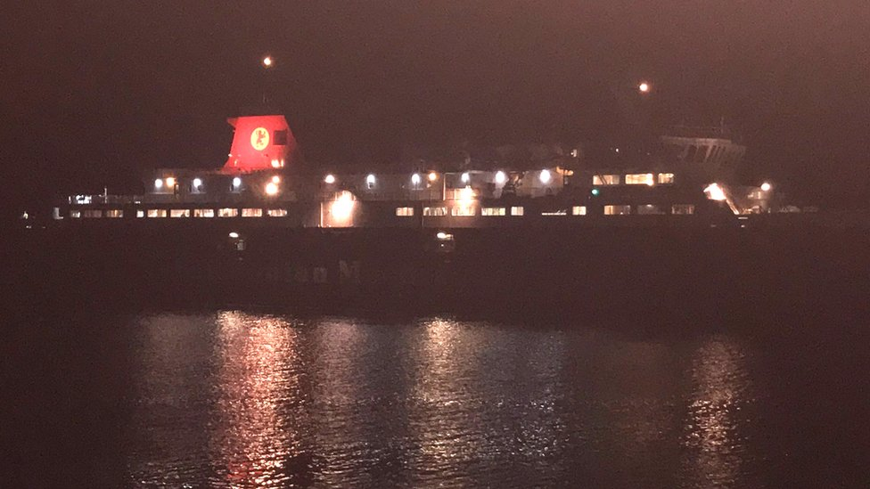 The Caledonian Isles arriving in Brodick, as seen from the terminal