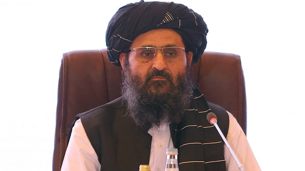 The leader of the Taliban negotiating team Mullah Abdul Ghani Baradar looks on during the final declaration of the peace talks between the Afghan government and the Taliban is presented in Qatar`s capital Doha on July 18, 2021