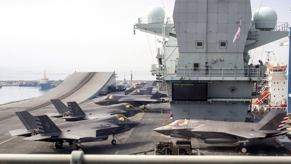 Lockheed Martin F-35B Lightning II combat aircrafts of the US Marine Fighter Attack Squadron 211 (VMFA 211) on the flight deck of the HMS Queen Elizabeth at the port of Limassol, Cyprus, 01 July 2021.