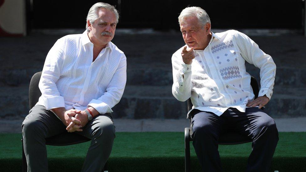 El presidente argentino, Alberto Fernández, durante una visita a su par mexicano Andrés Manuel López Obrador.