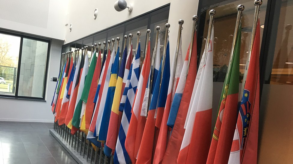 National flags in the Europol headquarters