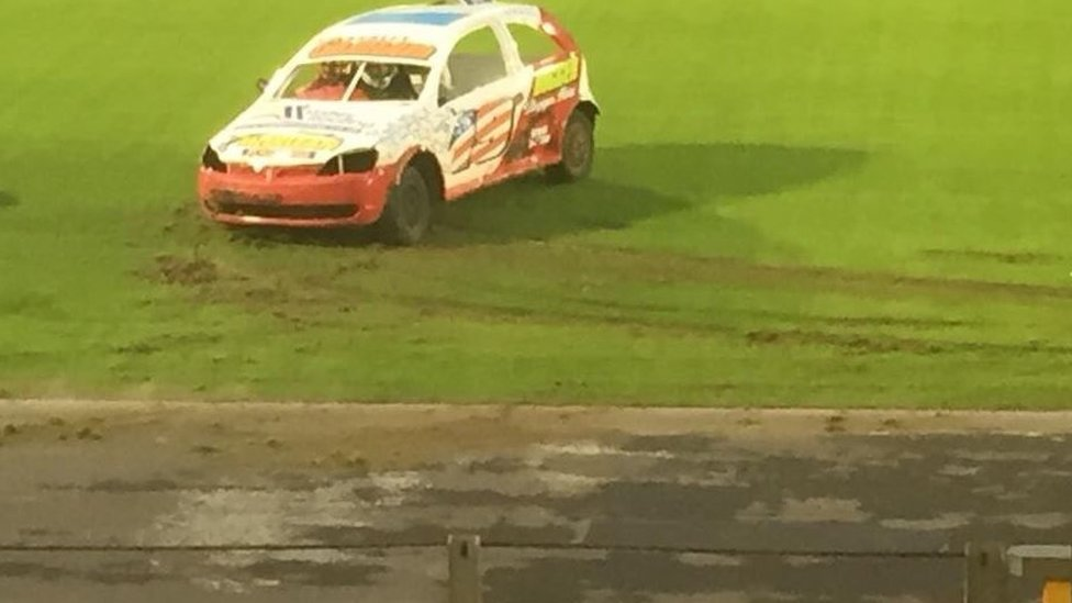 Club furious as stock cars drive on £250,000 pitch