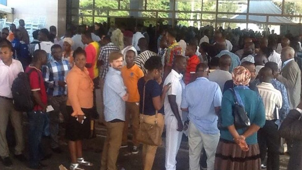 Queue to see the screening of Ghana in the Eyes of the God in Accra, Ghana