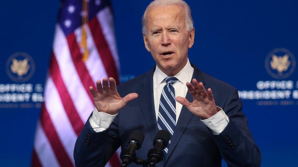 Joe Biden en rueda de prensa el 10 de noviembre