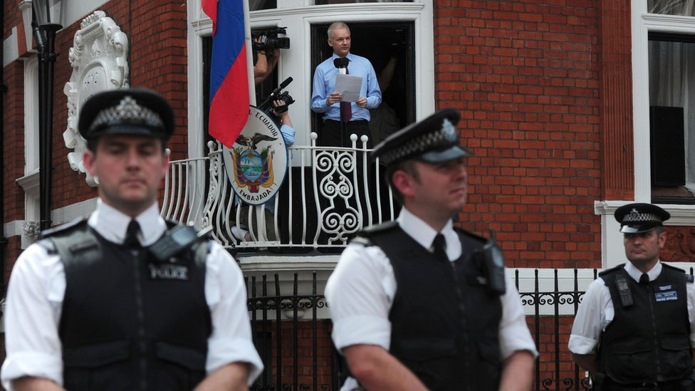 Julian Assange on the balcony at the Ecuadorean embassy in London in 2012