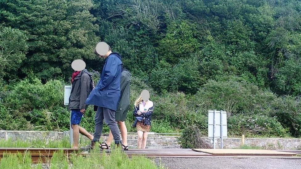People walking on a track