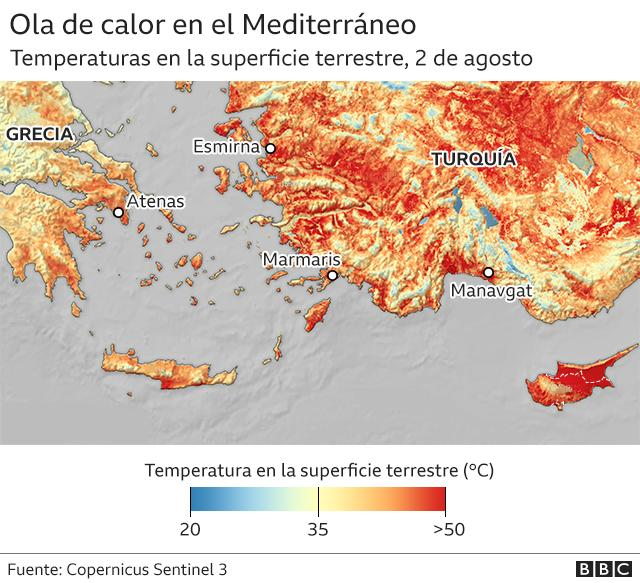 Mapa ola de calor Grecia