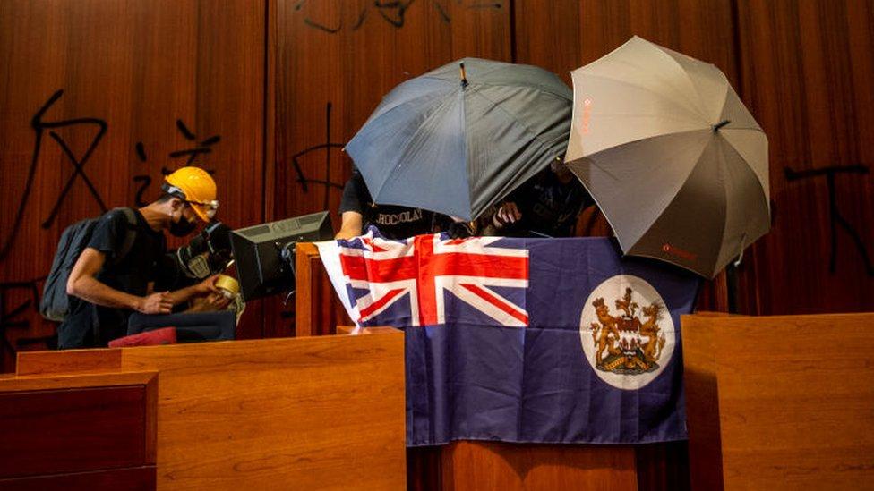 Hong Kong Protesters Storm Legislative Council Complex
