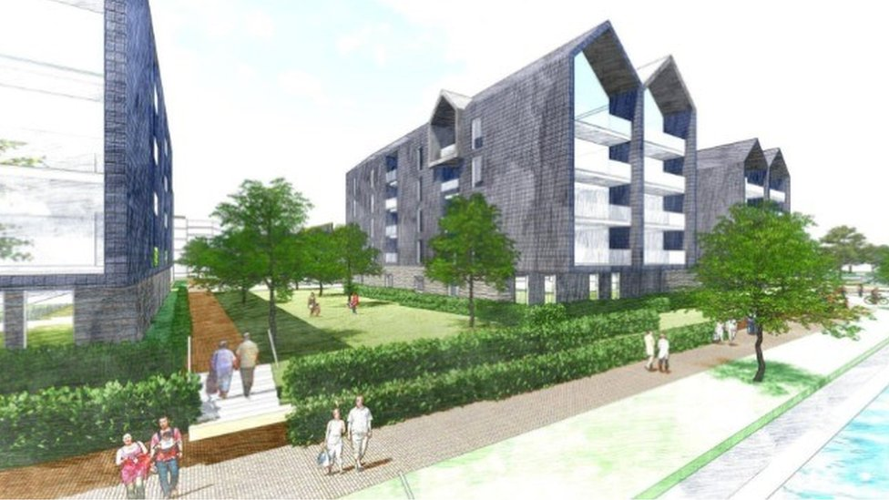 Artist's impression of how the regenerated Firepool site in Taunton will look