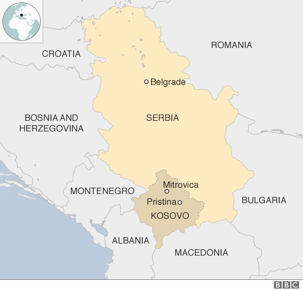 Map showing Serbia and Kosovo