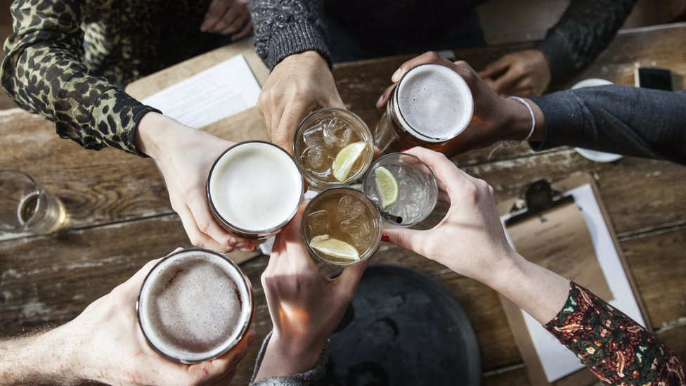 Stock image of six drinks