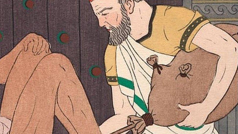 Litografia colorida de Hipócrates realizando um enema no século 5