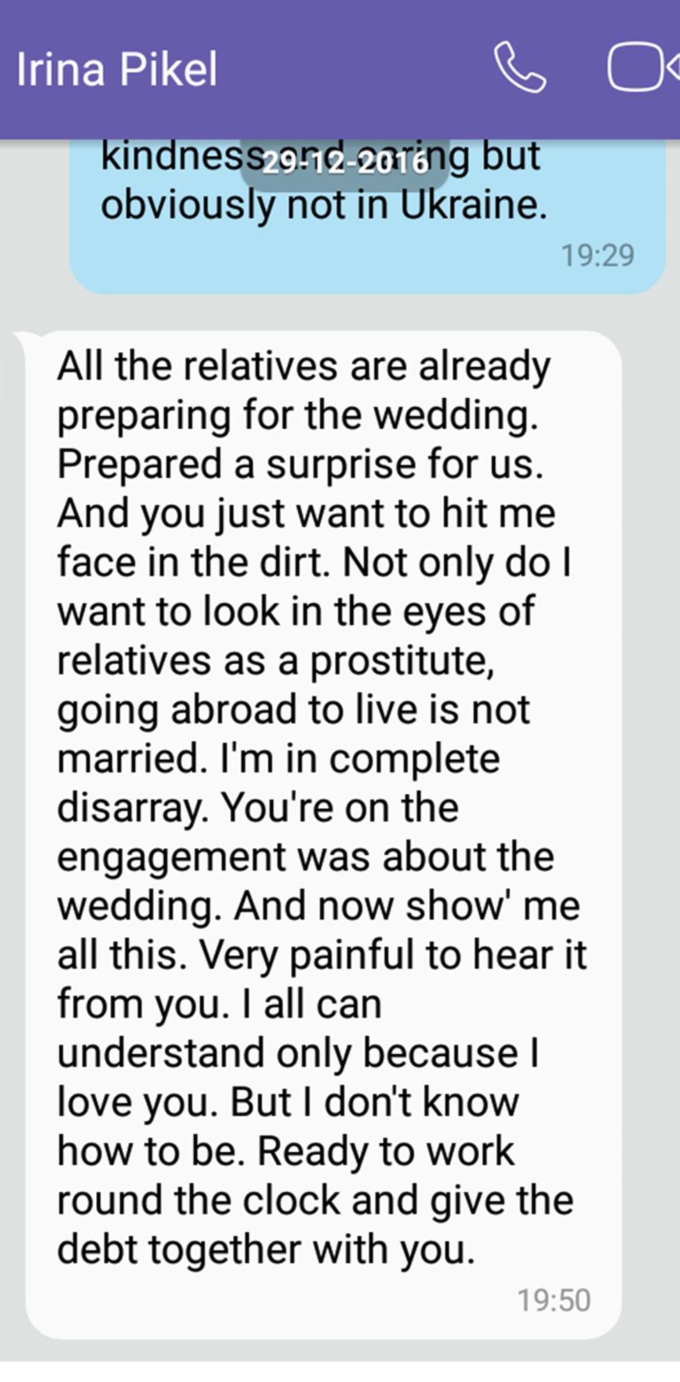 Un mensaje de Irina a James
