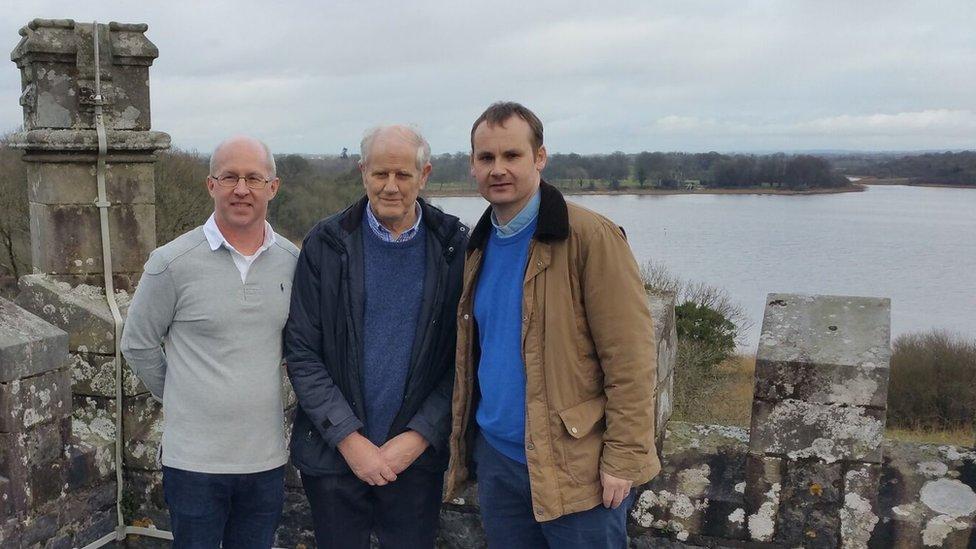 Derrylin Church of Ireland officials Simon Bullock and Charlie Surphlis with Rev Alastair Donaldson