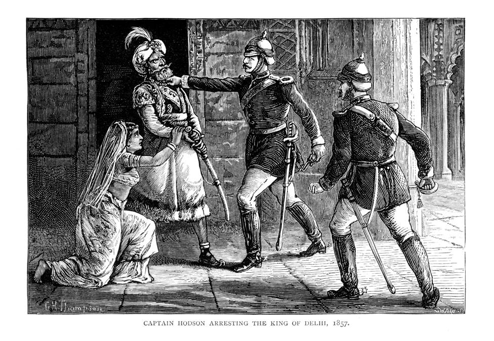 An illustration showing the arrest of Bahadur Shah Zafar