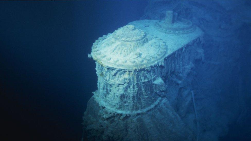 Titanik'in enkazından 1996'da çekilmiş bir görüntü