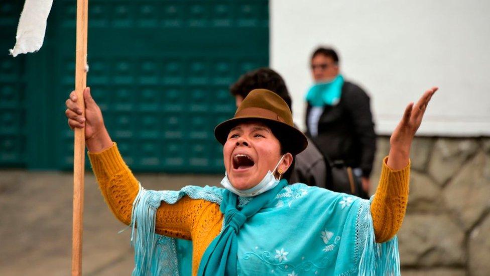 Manifestante en Bolivia