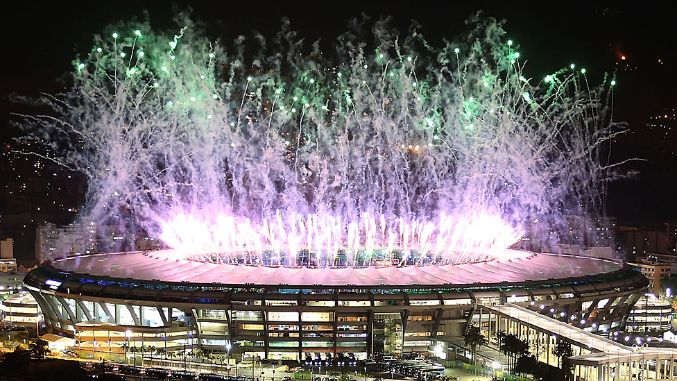 Fireworks at the opening ceremony of the Rio Olympics