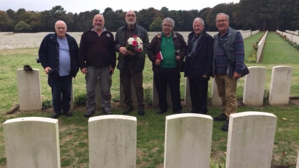 History group at Frank Evans' grave
