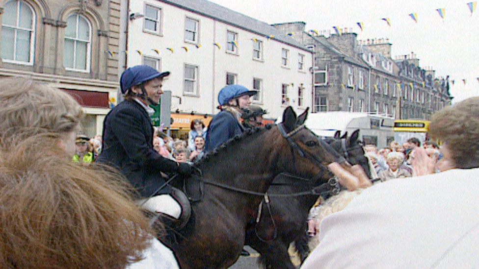 Ashley Simpson and Mandy Graham take part in common riding in 1996