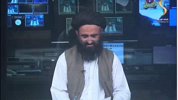 Presentador afgano en el canal Shamshad TV.