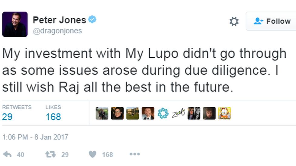 Peter Jones tweet