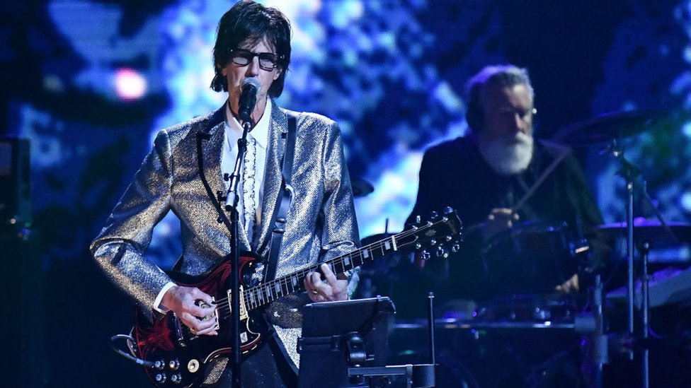 Ric Ocasek performing at the Rock and Roll induction ceremony in 2018