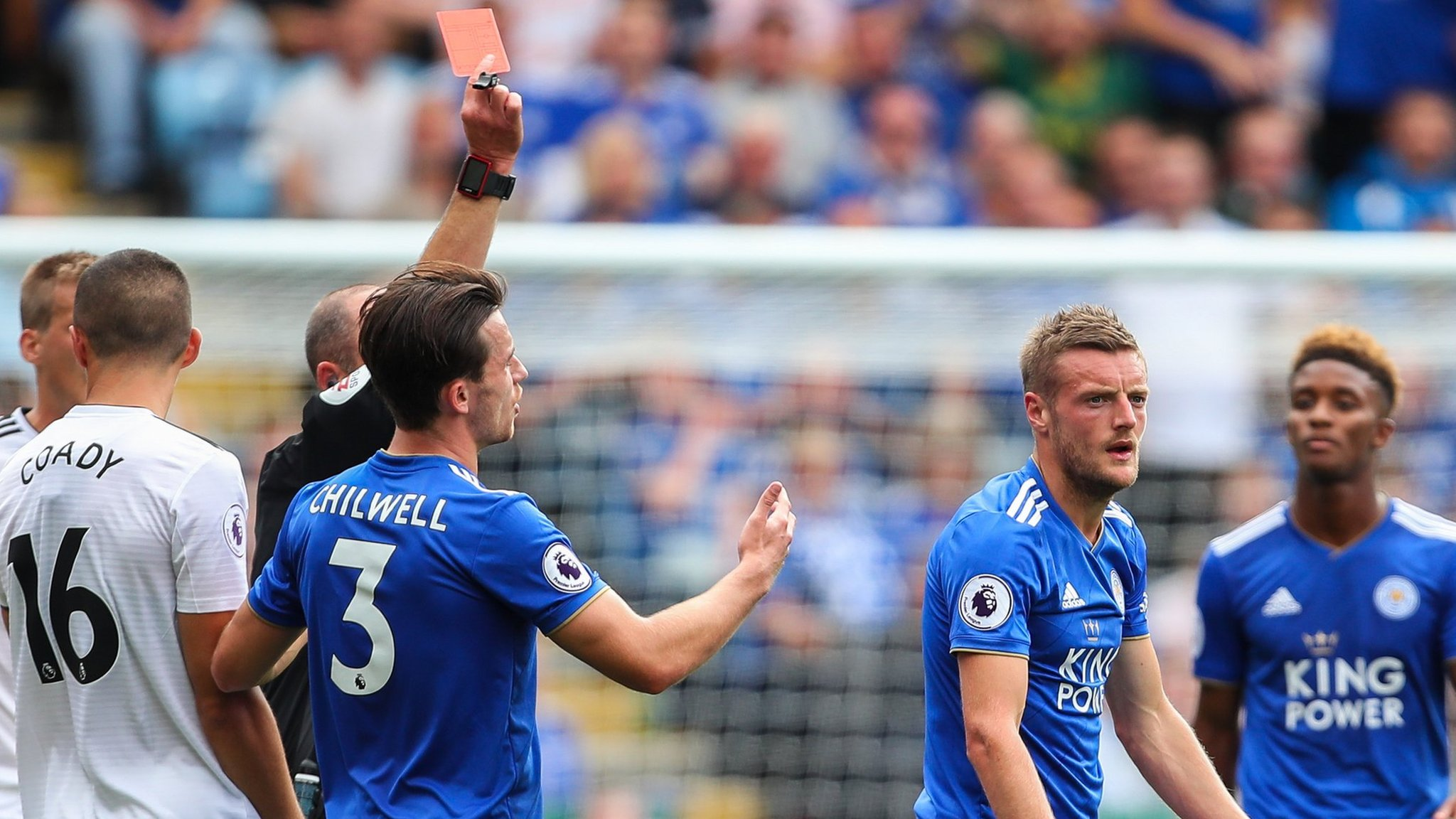 England striker Vardy sent off as Leicester beat Wolves