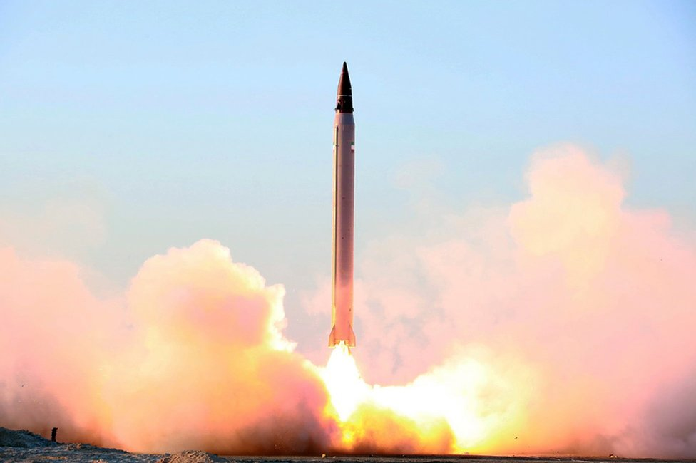 File picture released by the official website of the Iranian defence ministry on 11 October 2015 purportedly showing the launch of an Emad ballistic missile at an undisclosed location