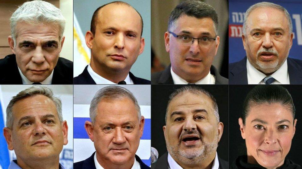 Los líderes de los ochos partidos de la coalición.