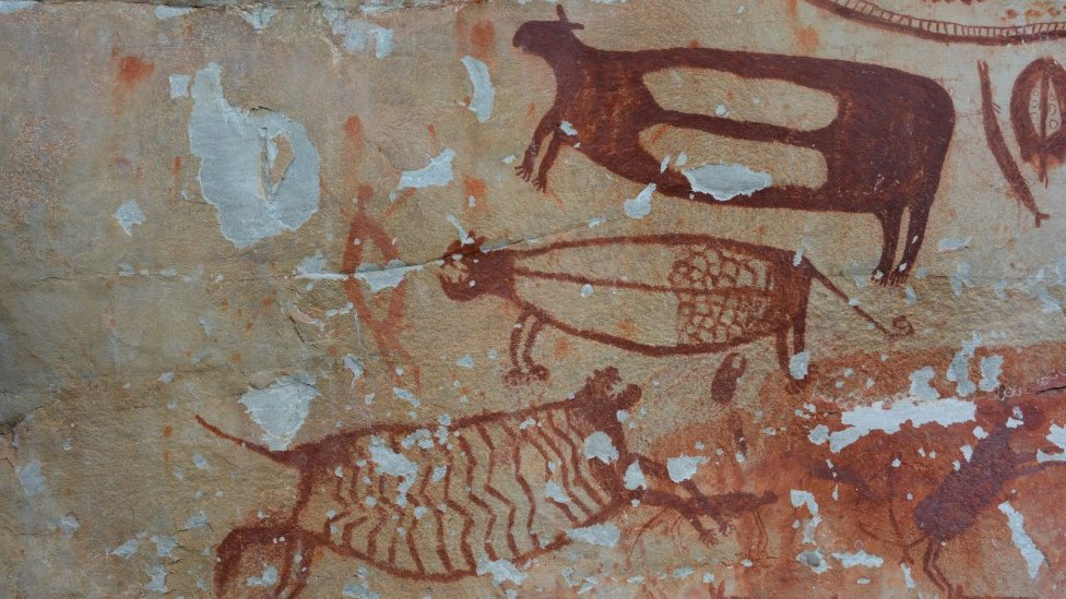Jaguar en los murales de Chbiriquete.