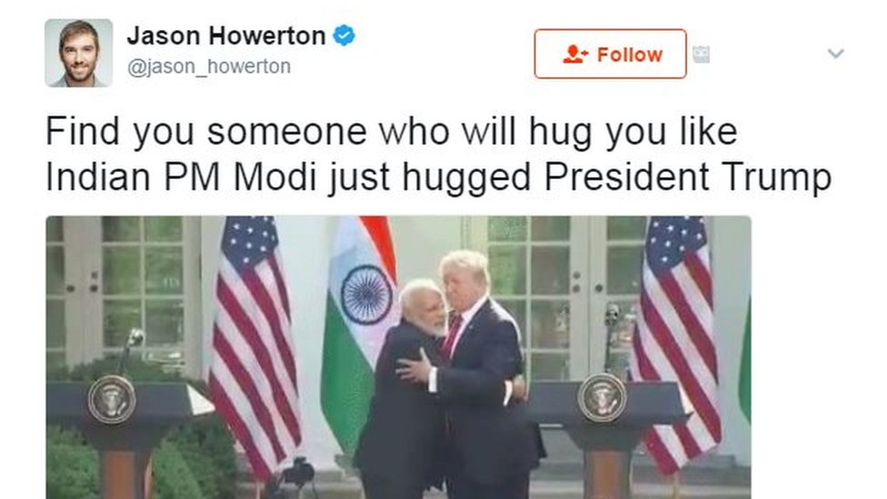 Find you someone who will hug you like Indian PM Modi just hugged President Trump