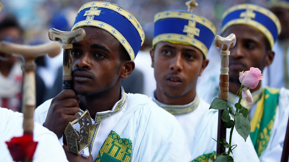 Deacons pictured during the Meskel festival in Addis Ababa, Ethiopia - Tuesday 27 September 2016