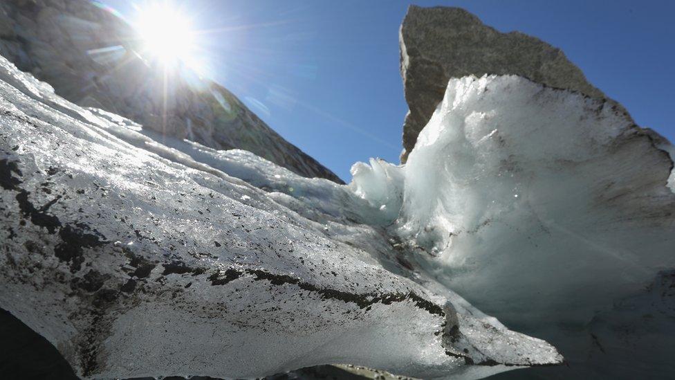 Sun shines on a melting glacier in Austria.