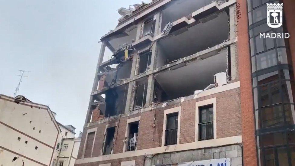 Damaged building in Madrid