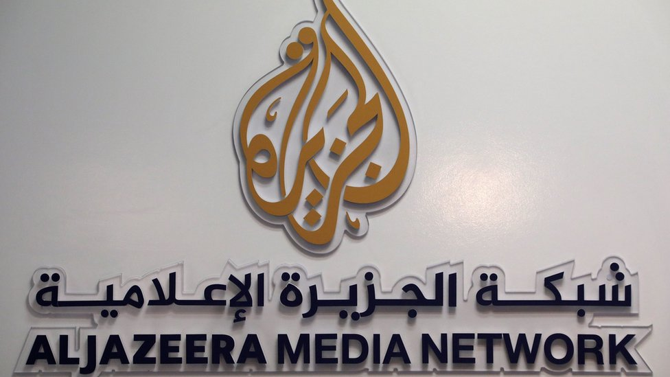 The logo of Al Jazeera Media Network is seen during the annual MIPCOM television programme market in Cannes, France, October 17, 2016