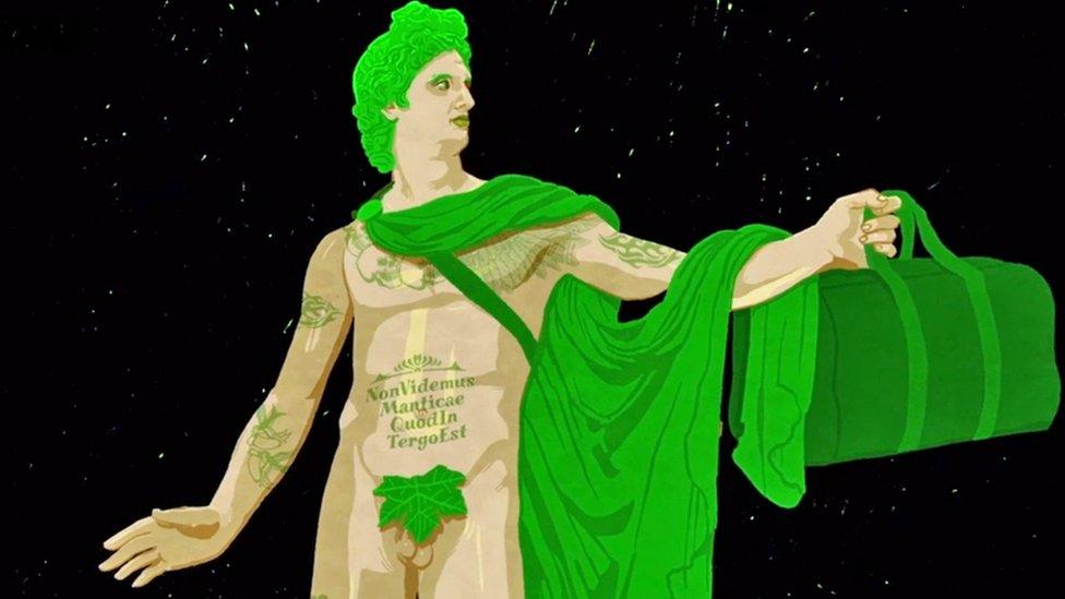 Gráfica de una estatua romana con el axioma: Non videmus manicae quod in tergo est