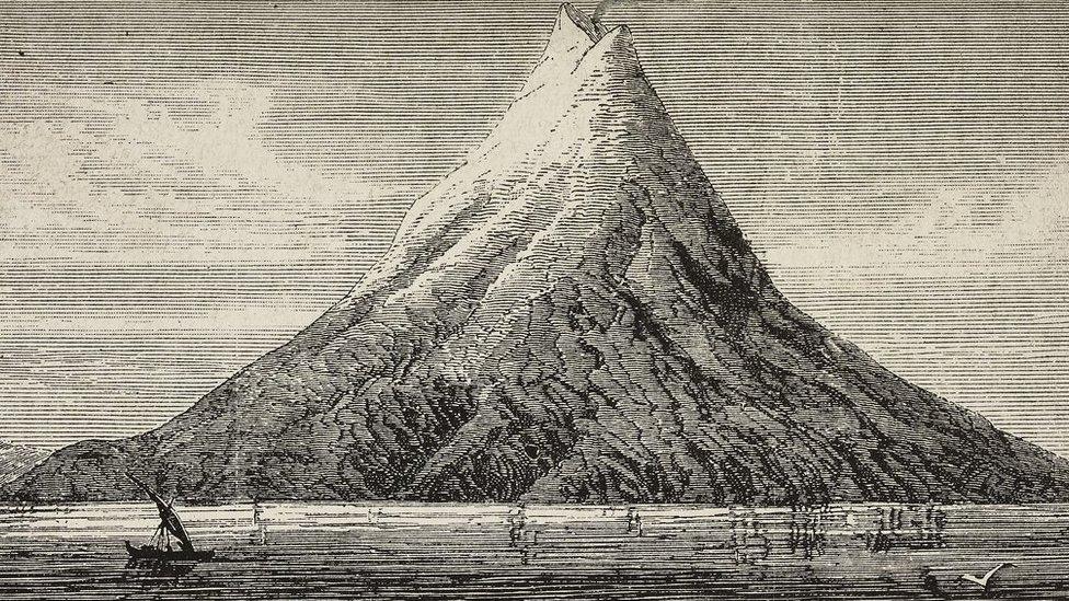 Sebuah ilustrasi Gunung Krakatau sebelum erupsi di tahun 1883.