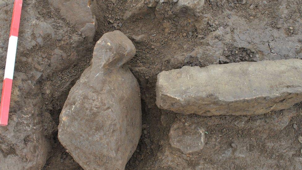 Carved stone in situ