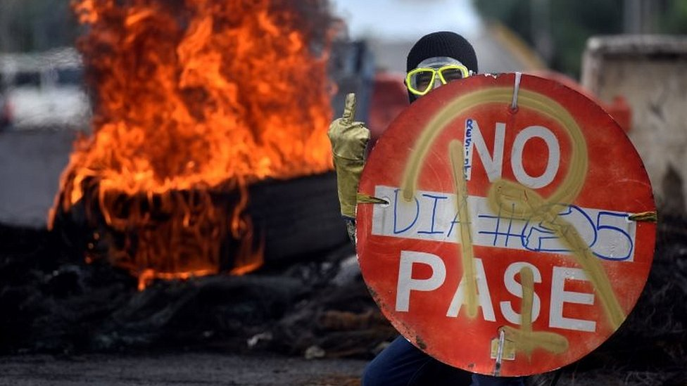 Manifestante en Cali